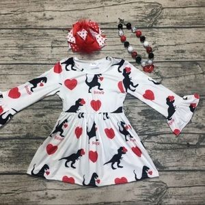 Other - New girls dino Print Valentine's Day Dress